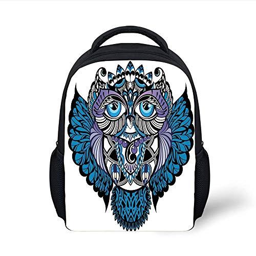 Kids School Backpack Tribal Decor,Owl Bird Animal with Paisley Tattoo Decor with Big Blue Eyes Lashes,Navy Blue and Purple Plain Bookbag Travel Daypack