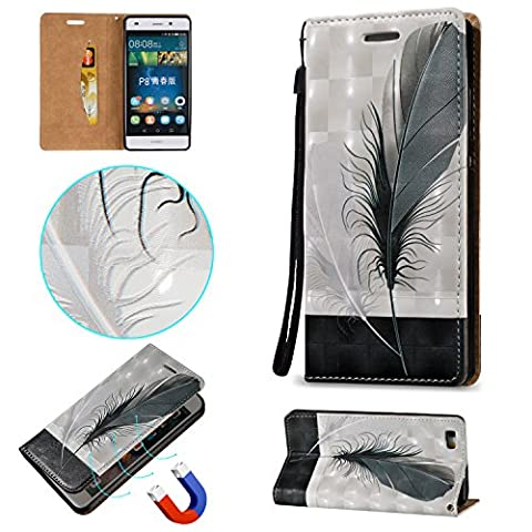 Huawei P8 Lite Case Cover [Anti-Scratch][Waterproof], Cozy Hut Practical Fashionable New 3D Stereoscopic Patterns PU Folio Leather Wallet Designer Flip Magnetic with [Wrist Strap] and [Card Holder Slot] Shock Absorber Full Body Protection Holster Case Cover Skin Shell for Huawei P8 Lite 5,0