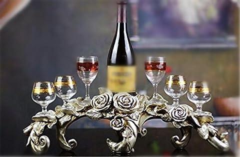 YANFEI Home Resin Wine Rack European Classic Rose Modelling Holds