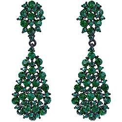 EVER FAITH Pendientes Mujer Estilo Artístico Flor Rhinestone Colgantes Aretes Retro Elegante para Regalo Novia Boda Fiesta Verde