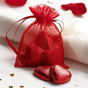 Bolsas de organza Shatchi, 10 x 14 mm, 10 unidades, color rojo, 10 x 14 cm, para bodas, cumpleaños, fiestas, regalos de Navidad, dulces regalos