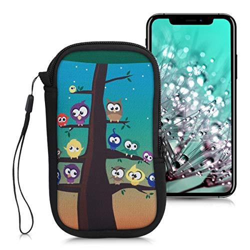 """kwmobile Handytasche für Smartphones L - 6,5\"""" - Neopren Handy Tasche Hülle Cover Case Schutzhülle - Eule Baum Design Mehrfarbig Blau Braun - 16,2 x 8,3 cm Innenmaße"""