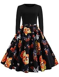 BBestseller-Vestidos de la Vendimia de la Impresión Cuello Redondo Manga Larga del Navidad Vestidos de Fiesta Vestir Skirt Falda de Las…