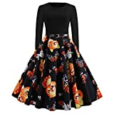 MRULIC Robe Femme de Soiree Women Vintage Long Sleeve O Neck Evening Printing Party Prom Swing Dress