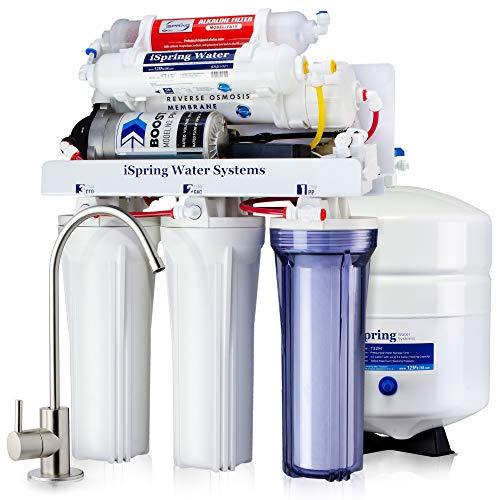 Sistema de filtrado de agua /ósmosis inversa de 7 fases con alcalinizador y esterilizador ultravioleta. iSpring 75GPD RCC7AK-UV