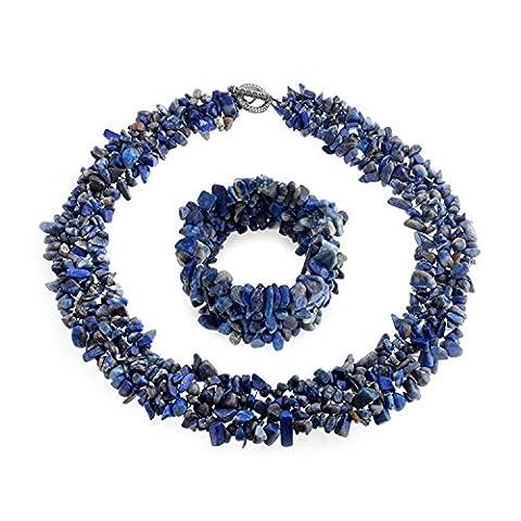 Bling Jewelry brins multi Chips Lapis-lazuli simulé Cluster Collier Bracelet plaqué argent Jeu