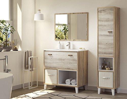 Abitti Pack baño o Aseo Mueble de baño con lavamanos pmma Espejo a Conjunto y Columna de almacenaje Sistema Cierre amortiguado Color Cambrian y Pino