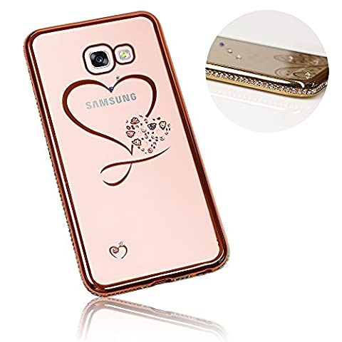 Xtra-Funky Range Samsung Galaxy A3 (2017 Model) Slim Silicone Case with Sparkling Crystal Edging and Heart - Rose Gold