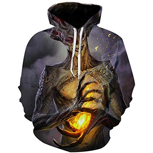 Für Hoodie Kostüm Elf Erwachsene - CJF123 Sweatshirt Halloween Horror Pullover 3D Print Teufel Geist elf Unisex beiläufige beiläufige Hoodie Sweatshirt Cosplay kostüm, XXL