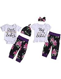 Puseky Baby Girls Big Little Sister Ropa familiar a juego Mameluco de manga corta + Pantalones florales + Conjunto de trajes de diadema