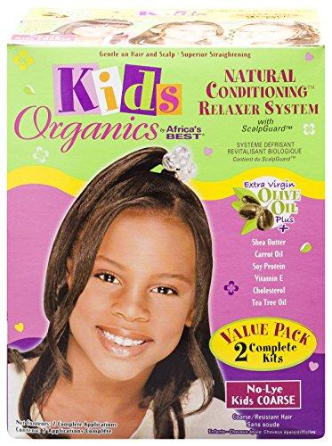 Africa's Best Organic - Value Pack de défrisage pour enfant - A base d'huile d'olive - Sans soude - Cheveux rêches