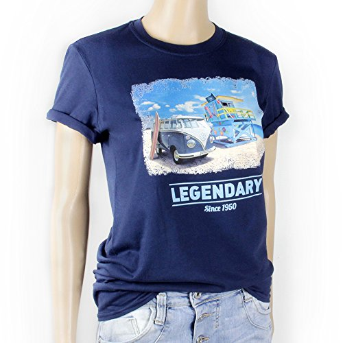 VW Collection by BRISA T-Shirt Volkswagen Bus T1 Unisex Beach/Blau