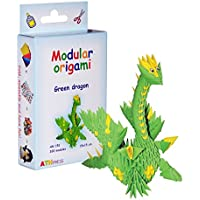 Origami modular, juego de 320 piezas de papel, dragón pequeño, verde