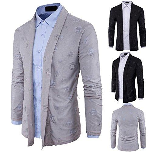 Malloom® Herren Herbst Winter Slim Fit Pullover Mode Strickjacke lange Trenchcoat Jacke (xl, grau)