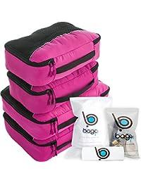 4de9cdb29474c Bago Packing Cubes - 4-teiliges Packwürfel Set für Reisen - Plus 6 Koffer  Organizer Zip…