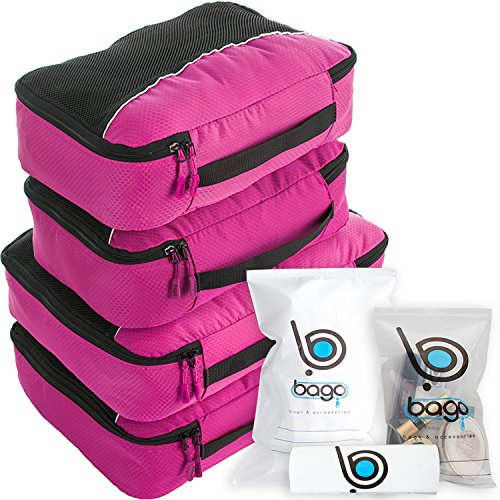 Luggage Packing Cubes 4pcs Value Set - Plus 6pcs Travel Ziplock Bags - Pink