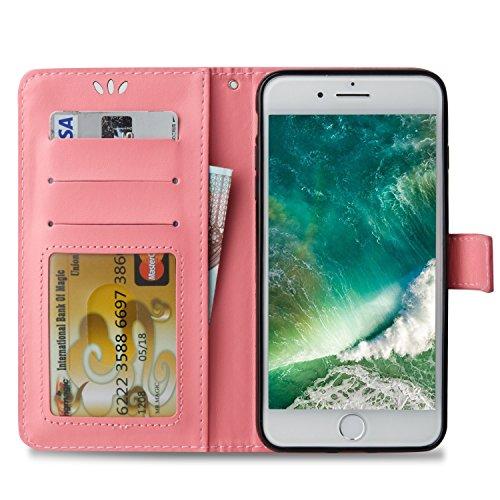 Goldene Blumen Schmetterling geprägt Muster Solid Color PU-Leder Tasche Flip Magnetische Silikon-Cover Wallet Stand Case mit Handschlaufe für iPhone7 Plus ( Color : Golden , Size : IPhone 7 Plus ) Pink