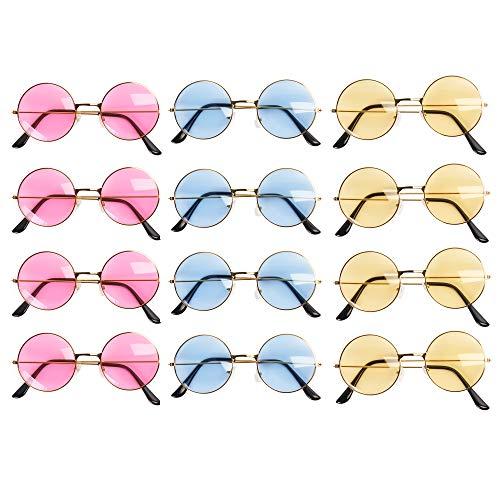 12 Gafas de Sol redondas - Estilo Retro Hippie de los años sesenta - Colores variados - Con monturas metalica - Ideales para adultos, adolescentes y niños.