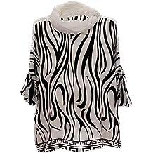 Moda Italy Damen Schlupfbluse Bluse Lagenlook Tunika mit Zebra Muster  Pailletten, Schal und 3  c3f16e8373