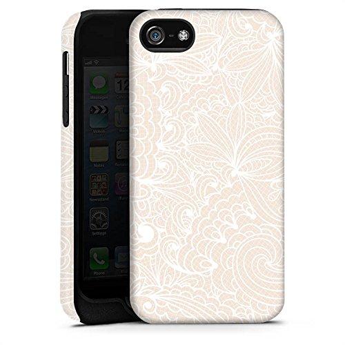 Apple iPhone 4 Silikon Hülle Case Schutzhülle Spitze Muster Blumen Tough Case matt