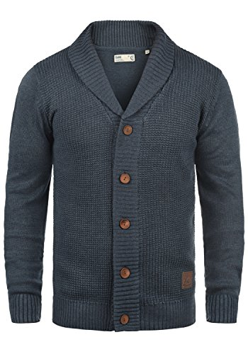 SOLID Torres Herren Strickjacke Cardigan Feinstrick mit Schal-Kragen und V-Ausschnitt aus hochwertiger Baumwollmischung Meliert, Größe:XL, Farbe:Insignia Blue Melange (8991) (V-neck-gerippte Blue)