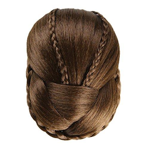 Elecenty ♬♬ Geflochtene Haarteile Perücke Brötchenhaar Chignon Haarteil Hochzeit Haarteile Perücken für Partyhochzeit