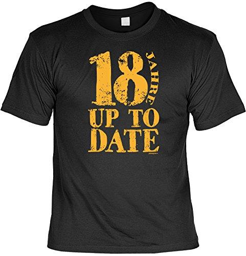 Geschenk T-Shirt zum 18.Geburtstag : 18 / 18 Jahre up to Date -- Geburtstagsshirt Schwarz