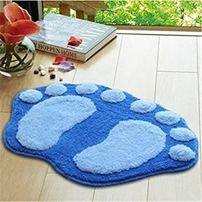 Super Soft Nonslip Microfiber Lovely Flocking Big Feet Pad Floor Mat Bedroom Area Rug Carpet 58.5*38.5cm, 5 Colors Available (Blue) - inexpensive UK light shop.