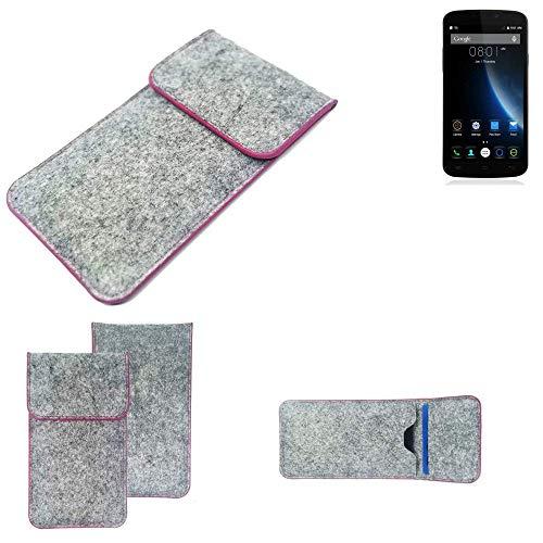 K-S-Trade® Filz Schutz Hülle Für -Doogee X6S- Schutzhülle Filztasche Pouch Tasche Case Sleeve Handyhülle Filzhülle Hellgrau Pinker Rand