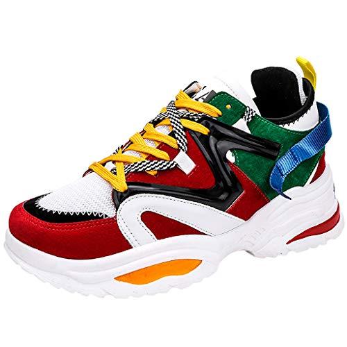 Herrenschuhe Sportschuhe Atmungsaktive Basketball Schuhe Farbe Plateauschuhe Mode Schnürung Turnschuhe Student Sneaker Dicker Boden Laufschuhe, Camouflage, 37 EU