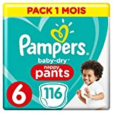 Couches Culottes Pampers Taille 6 (+15 kg) -n  Baby Dry Nappy Pants, 116 culottes, Pack 1 Mois