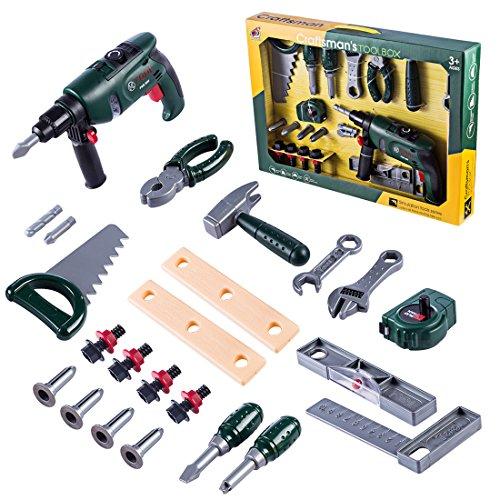 YAHAMA 24 Teilig Werkzeugkoffer Set Kinder Handwerker Geschenke Kinder Werkzeug Spielzeug ab 3