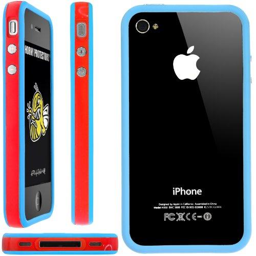 Horny Protectors Bumper für Apple iPhone 4/4S transparent/grün mit Metallbutton rot/blau