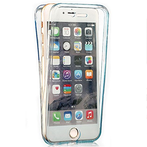 Funyye per iphone 6 Plus/ 6S Plus Cover 360 Gradi Fronte Retro Silicone Morbido Sottile Leggero Gel Protettiva Case Flessibile Slim Thin Skin Shell Protezione Custodia con [Pellicola Protettiva] Per i Blu
