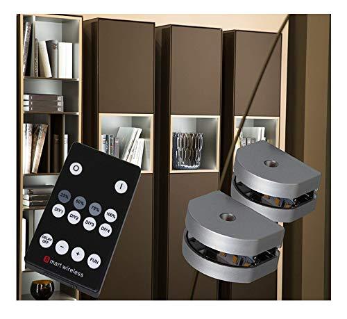 LED 3-Seiten Glaskantenbeleuchtung Set Dimmbar mit Fernbedienung warm weiß (2er Set) -