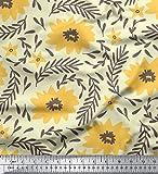 Soimoi Jaune Batiste de Coton en Tissu Feuilles redwoood & Floral Tissu Imprime par Metre 42 Pouce Large