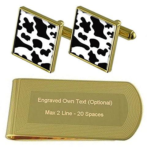 Kuh Haut Drucken Gold-Manschettenknöpfe Geldscheinklammer Gravur