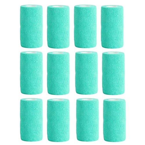 Haftbandage–12Rollen x 10cm x 4,5m, Erste Hilfe, Sport, Bandagen, COBOX Tierarztverband selbstklebende Bandagen, blaugrün (Pet-wrap)