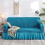 Elastischer Sofabezug, Universeller Sofabezug mit hohem Stretchanteil, bequemer Sofabezug, strapazierfähiger Möbelbeschützer mit Rock im Landhausstil ( Color : Blue , Size : Four people 235*300cm )