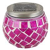 LED Solar Gartenleuchte Mosaik Ø10x9cm Tischlampe, Farbe:rot