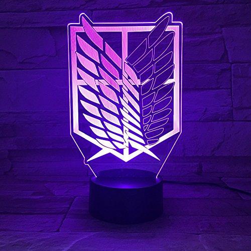 ty 3D LED Lampe Animation Angriff auf mit 7 Farben Effekt ändern Home Office Schlafzimmer Art Decor LHDOVIS ()