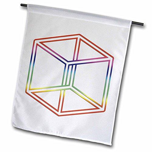 3drose FL _ 24271_ 1Escher 's Impossible Cube Glowing auf weißem Hintergrund Garten Flagge, 12von 18 (Escher-zeichnung)
