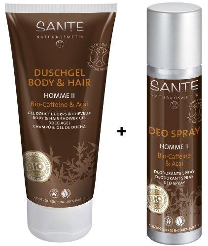 Lang Anhaltende Deo-creme (Sante Homme 2 Deo Spray deux 100 ml und Homme 2 Duschgel deux Body&Hair 200 ml im Set für ein tägliches Frische-Erlebnis)