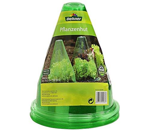 Dehner Pflanzenhut, Zum Schutz vor Sonne, Frost, Schnecken Etc, 10 Stück, Ø 19.5 cm, Kunststoff, Grün