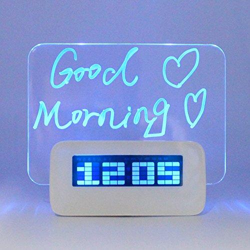 GANGHENGYU Digital Fluoreszierende Message Board Wecker mit Highlighter Elektronische LED Blau Display Zeit Datum Reise Home Schlafzimmer DIY Memo Kinder Geschenk mit Geburtstag Erinnerung Uhr Led Message Clock
