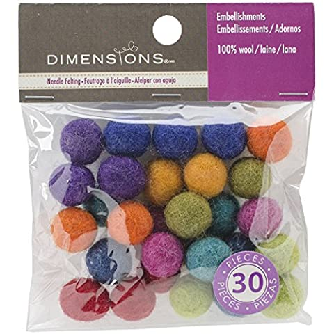 Dimensions Crafts 72-74019 Wool Ball Assortment for Needle Felting,
