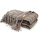 DOZZZ Dekorative dicke Decke für Sofa. Sofa werfend Decke mit Rand, 150 x 130 cm (Gemischte Graue)
