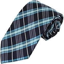 EAGC0058 Corbata negra de la tela escocesa de la turquesa Corbata Personalizada Corbata Absolutamente caballero de la corbata de largo por Epoint