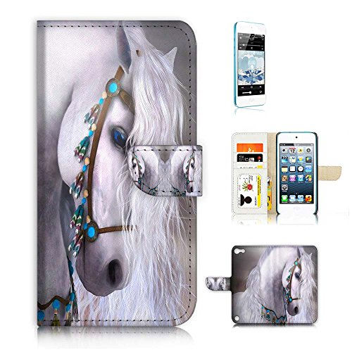 (für iPod Touch 5/iTouch 5) Wallet Case Cover & Displayschutzfolie Bundle. a20470 Prinzessin Pferd