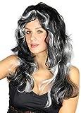Foxxeo 35175 - Schwarze gelockte Gothic Perücke mit Weißen Strähnen für Damen Hexen Halloween Damenperücke Langhaar Lange lockig